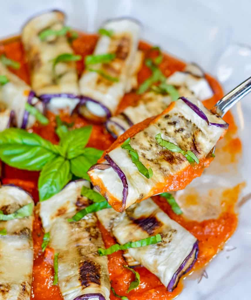 Eggplant Rollatini with fork
