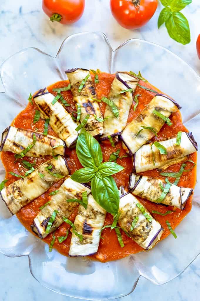 Eggplant Rollatini on platter