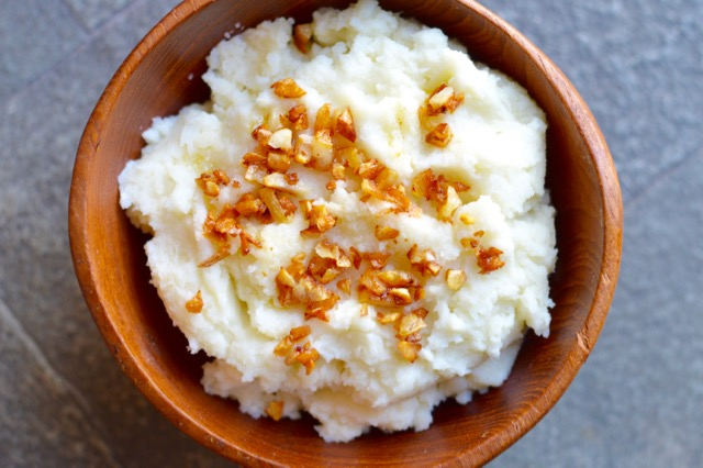 Cauliflower Mashed Potatoes with Golden Garlic