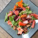 Roasted Beet Salad with Tomatoes and Pea Shoots