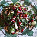 Kale Salad with Pomegranate Seeds and Apple