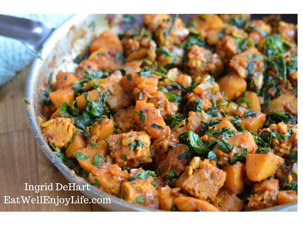 Braised Tempeh with Butternut Squash and Kale