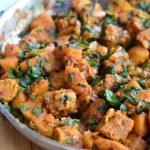 Braised Temeph with Butternut Squash and Kale