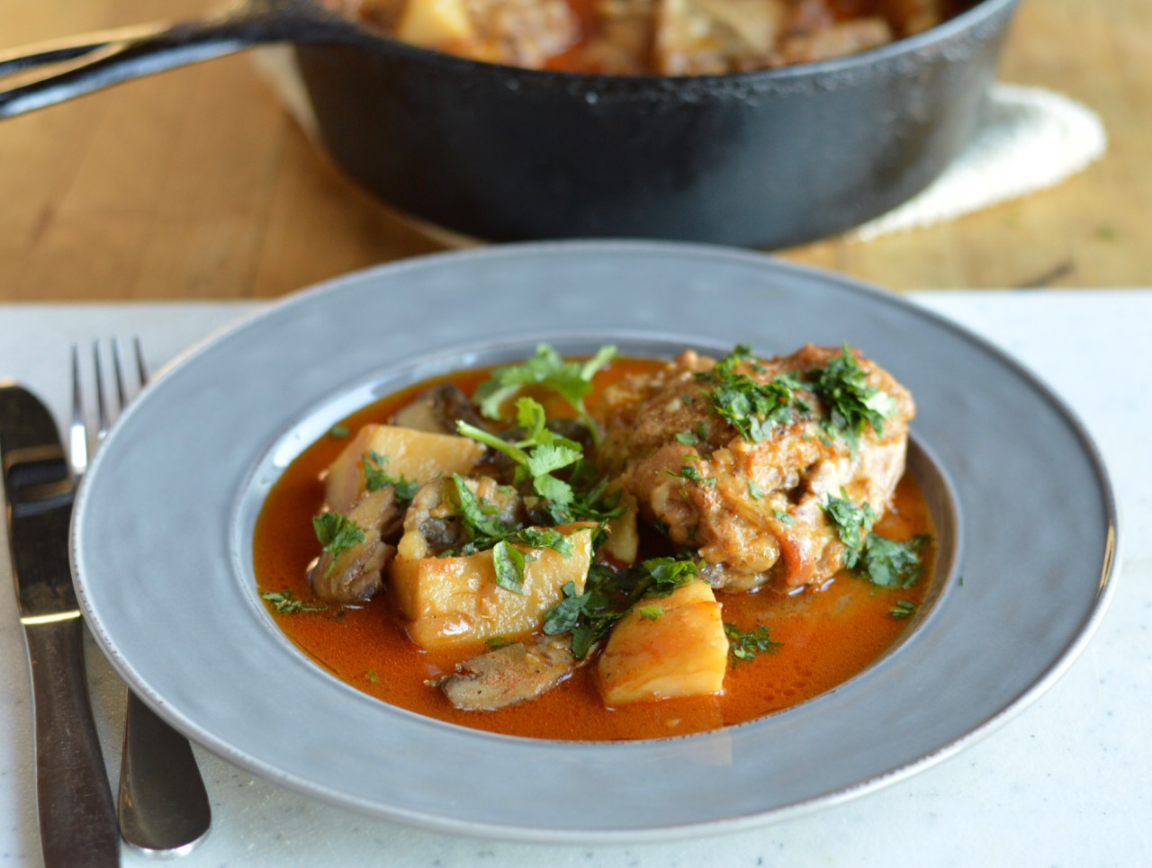 Coconut Braised Chicken with Mushrooms and Potatoes
