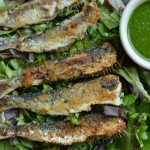 Almond Crusted Sardines with Parsley Sauce