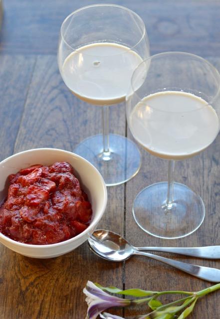 Almond Panna Cotta Strawberry Rhubarb Bowl
