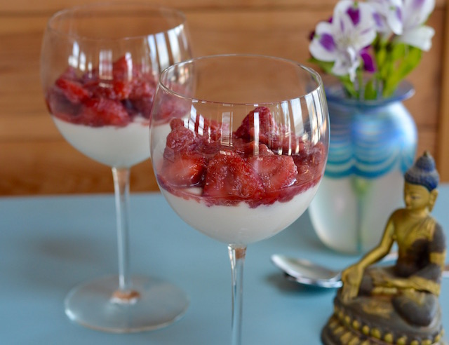 Almond Panna Cotta with Strawberry Rhubarb Compote