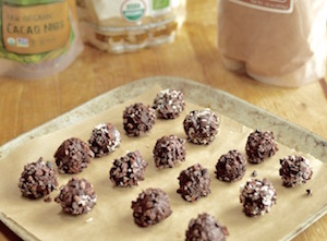Raw Chocolate truffles on tray