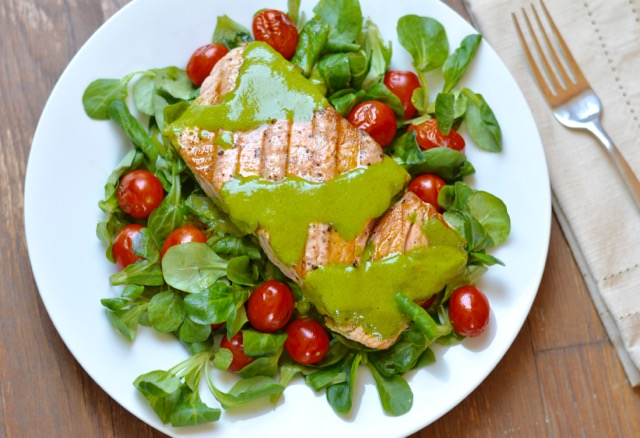 Grilled Salmon and Tomatoes with Cilantro Pesto - Eat Well ...