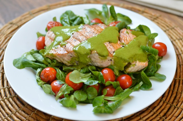 Grilled Salmon and Tomatoes with Cilantro Pesto - Eat Well Enjoy Life ...