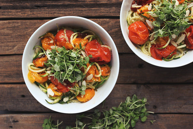 Zucchini Noodles Heirloom Tomatoes