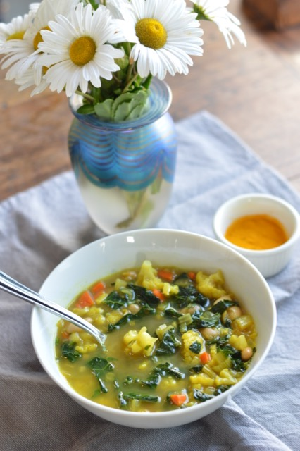 Cleansing Turmeric Vegetable Soup with flowers