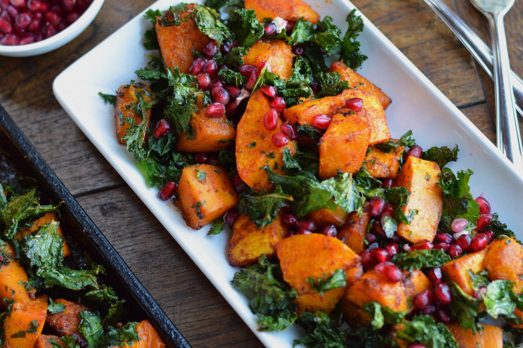 Roasted Butternut with Crispy Kale and Pomegranate Seeds