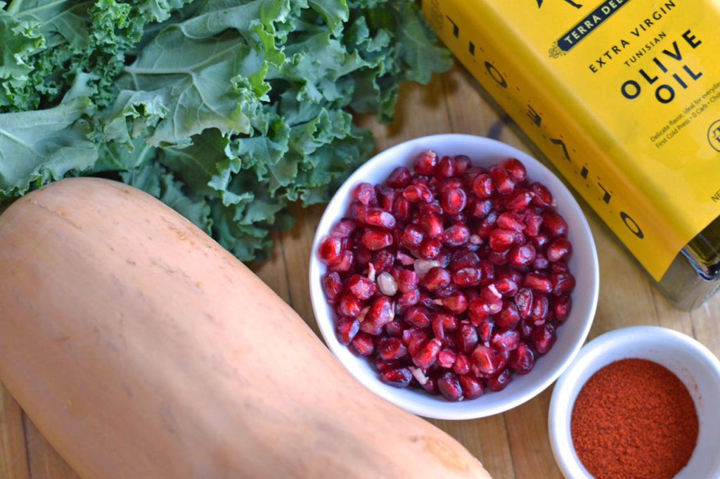 Roasted Butternut Squash with Crispy Kale and Pomegranate Seeds