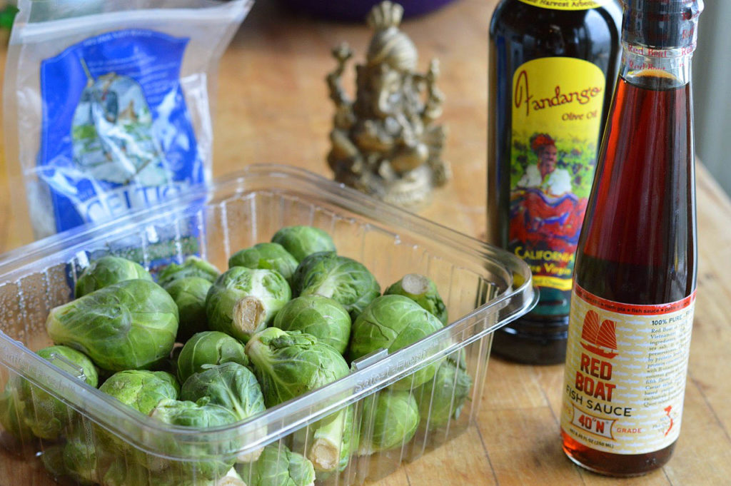 Appetizer Brussels Sprouts Steeped in Olive Oil and Fish Sauce
