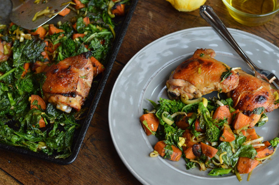 One Pan Roasted Chicken With Broccoli Rabe And Sweet