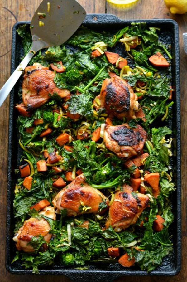 Chicken Broccoli Rabe & Sweet Potatoes pan