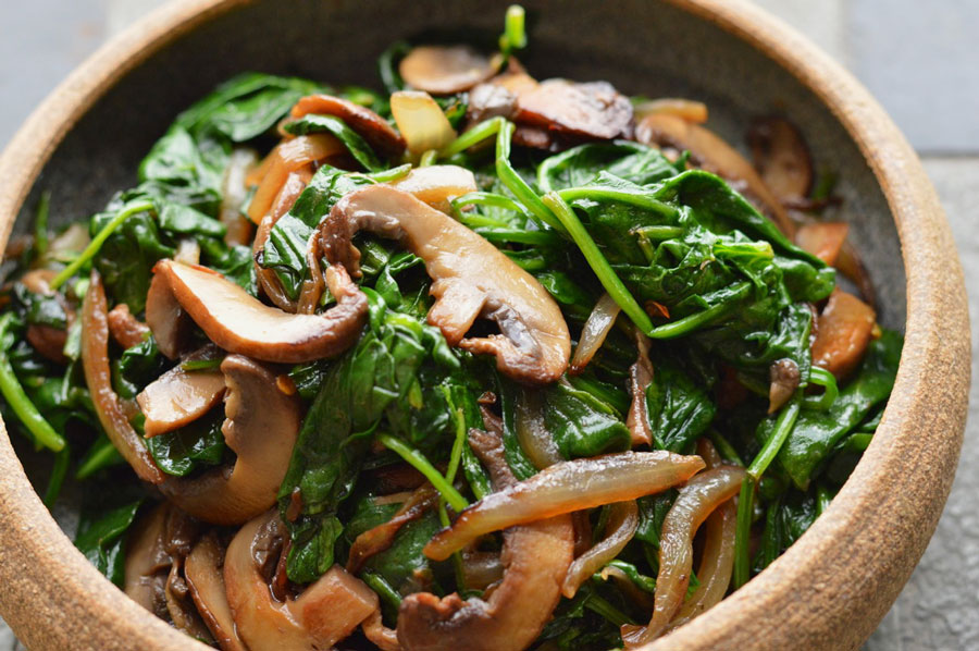Sauteed Spinach with Caramelized Mushrooms
