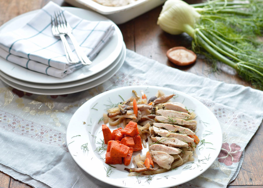 Low Fat Baked Chicken with Fennel and Mushrooms