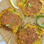 Japanese Vegetable Pancakes with Garlic Scapes