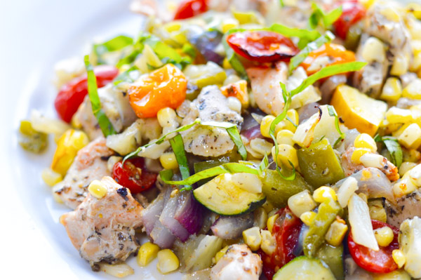 Easy Roasted Summer Vegetables with Chicken