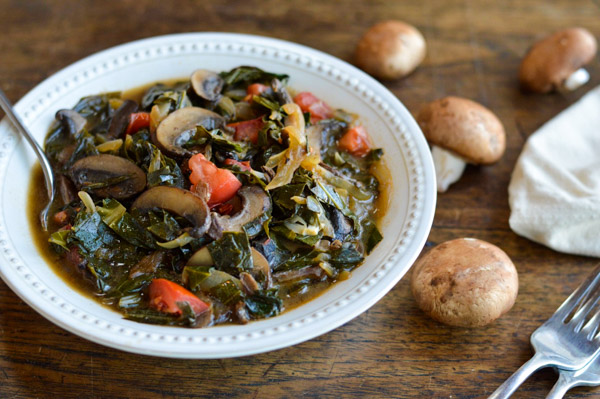 Southern Style Vegan Collard Greens with Mushrooms