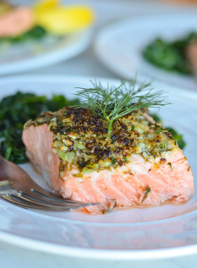 Balancing Lemon Garlic Herb Crusted Salmon