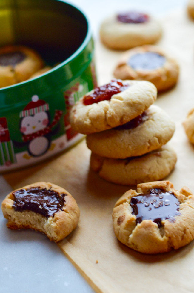 Sea Salt & Chocolate or Raspberry Thumbprint Cookies