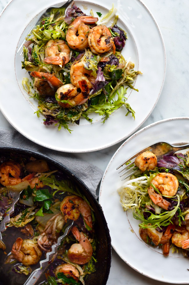 Seared Shrimp with Winter Greens  plates