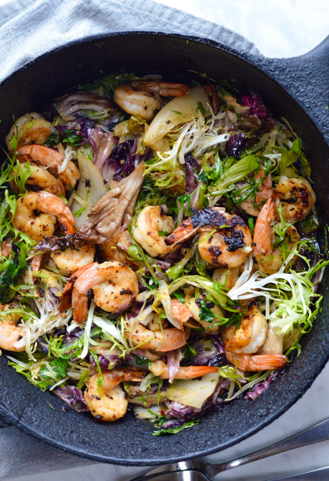Seared Shrimp with Winter Greens in pan
