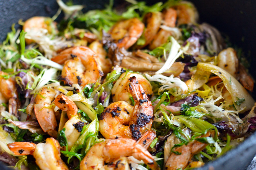Seared Shrimp with Winter Greens close