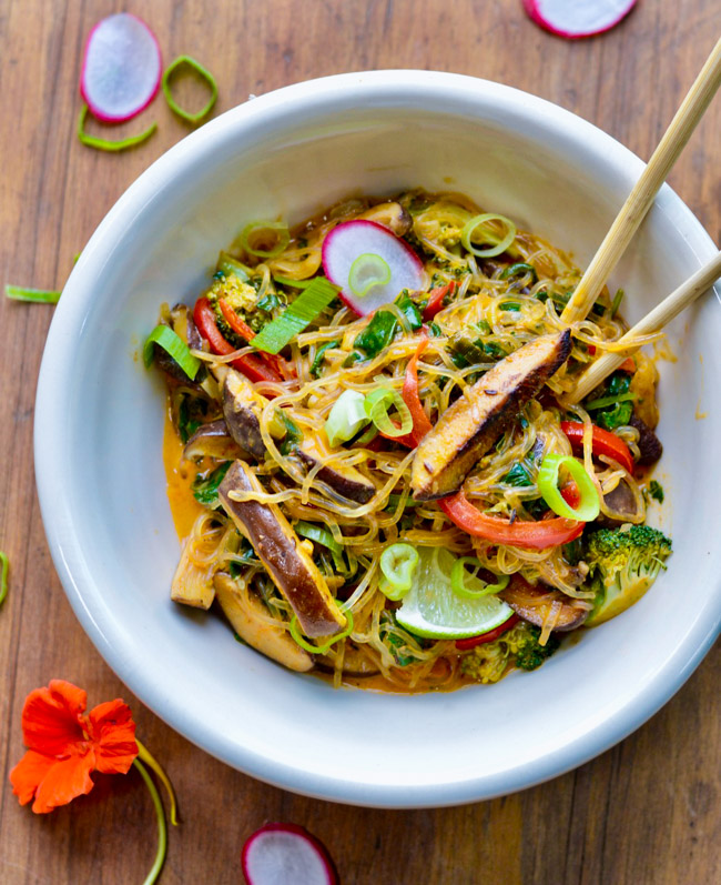 Thai Red Curry Noodles with Vegetables in bowl