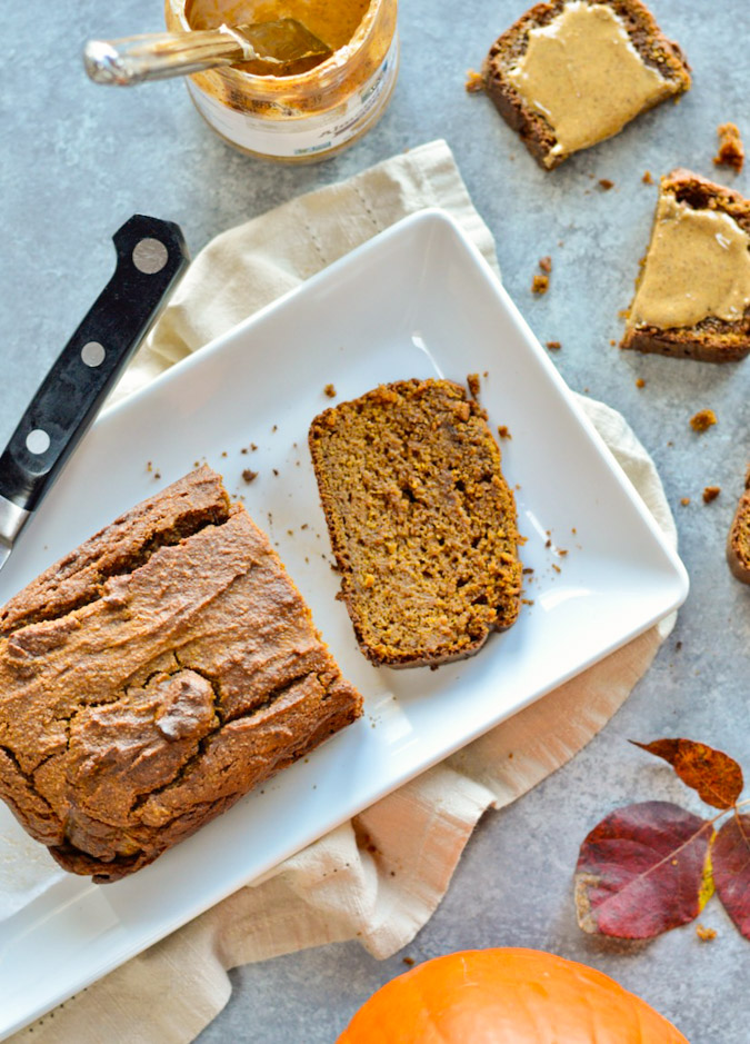 Moist Paleo Pumpkin Bread with knife