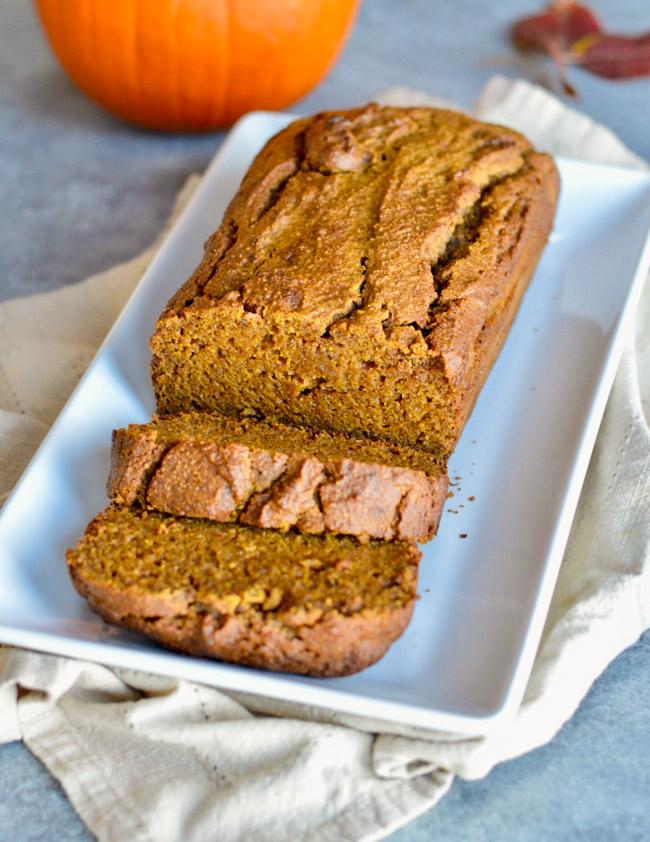 Moist Paleo Pumpkin Bread on tray