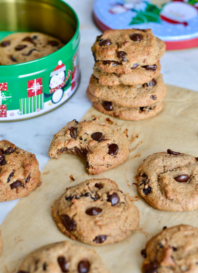 Cherry Garcia Chocolate Chip Cookies with container stacked