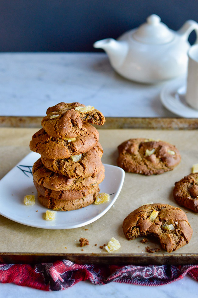 Triple Ginger Paleo Gingerbread Cookies with teapot