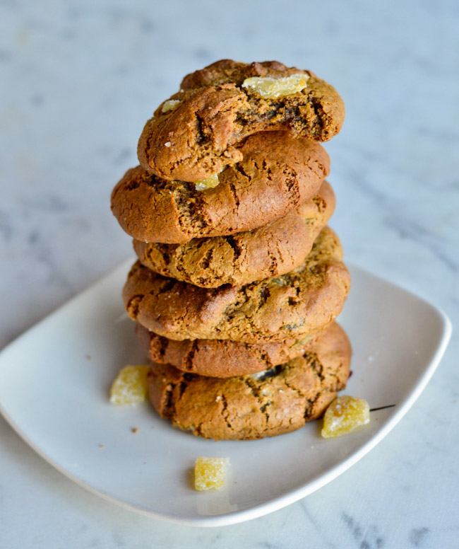 Triple Ginger Paleo Gingerbread Cookies stacked
