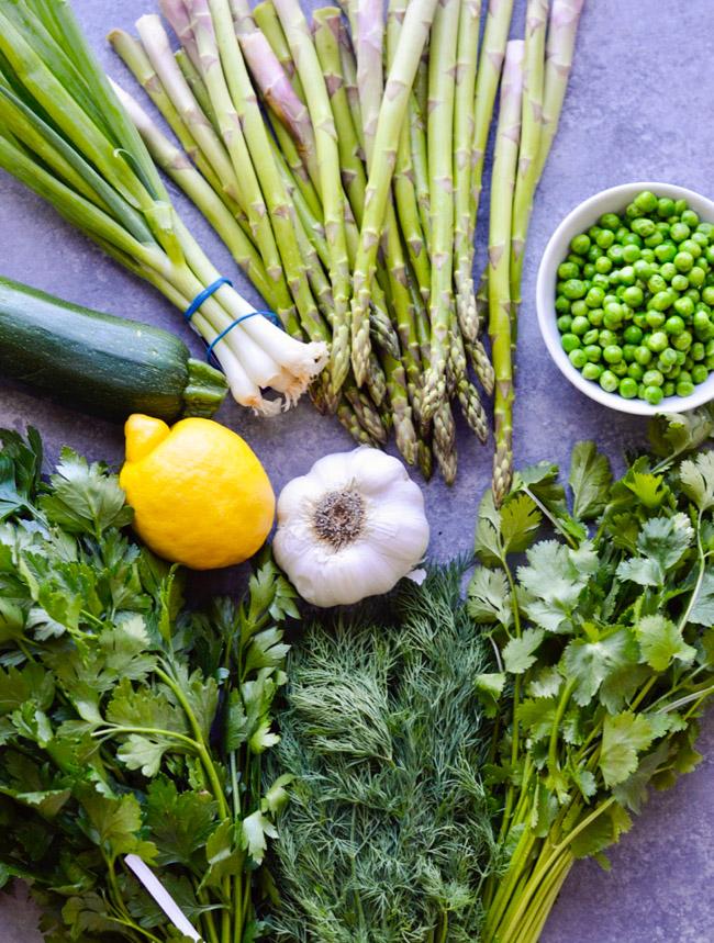 One Pan Herb Lemon Cod Spring Vegetables Ingredients