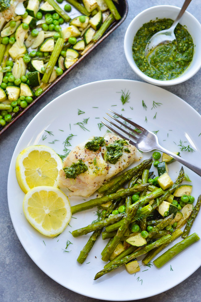 One Pan Herb Lemon Cod Spring Vegetables Over