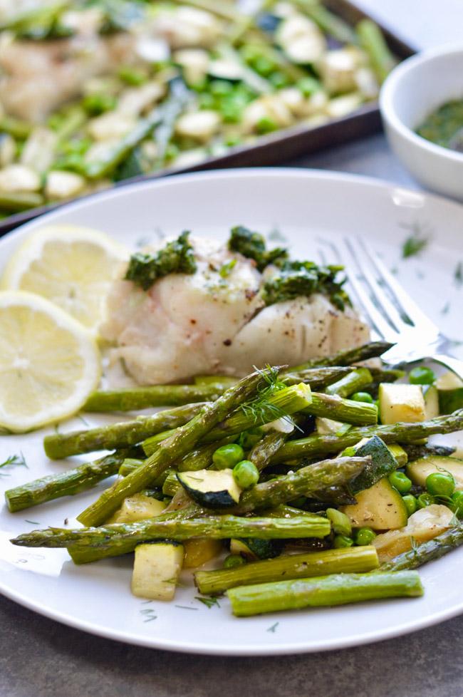 One Pan Herb Lemon Cod Spring Vegetables Plate