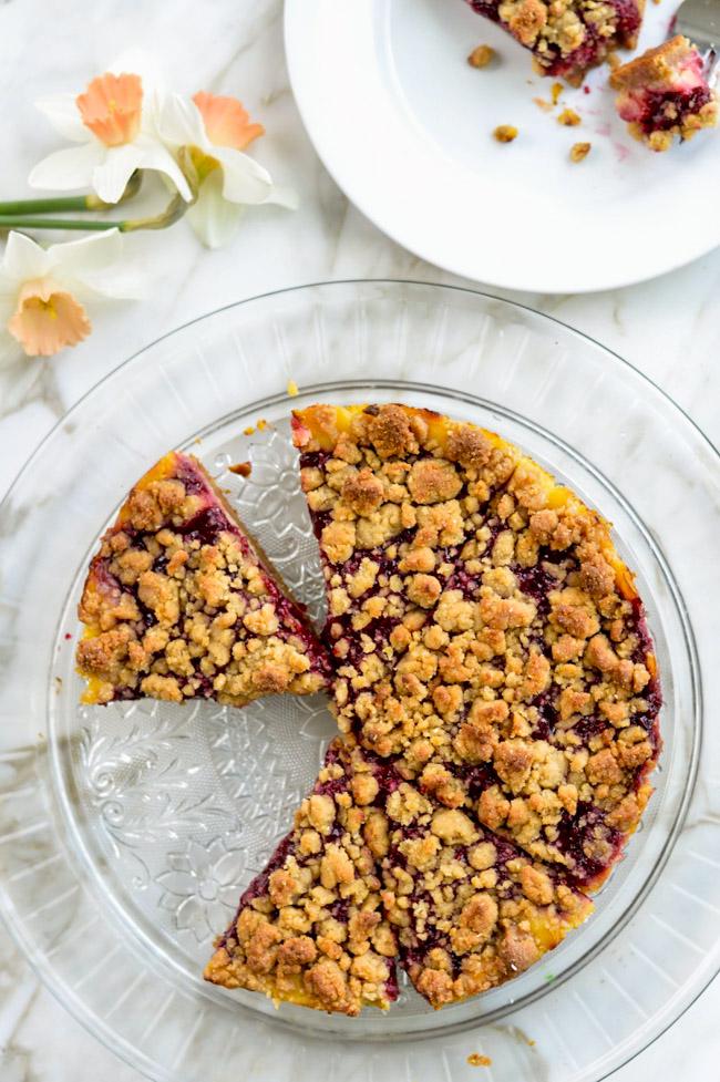 Raspberry Lemon Crumb Cake Paleo on platter