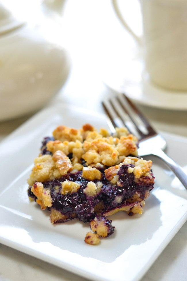 Paleo Blueberry Crumb Bars on plate with fork