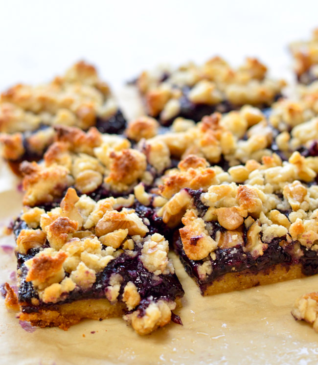 Paleo Blueberry Crumb Bars close up