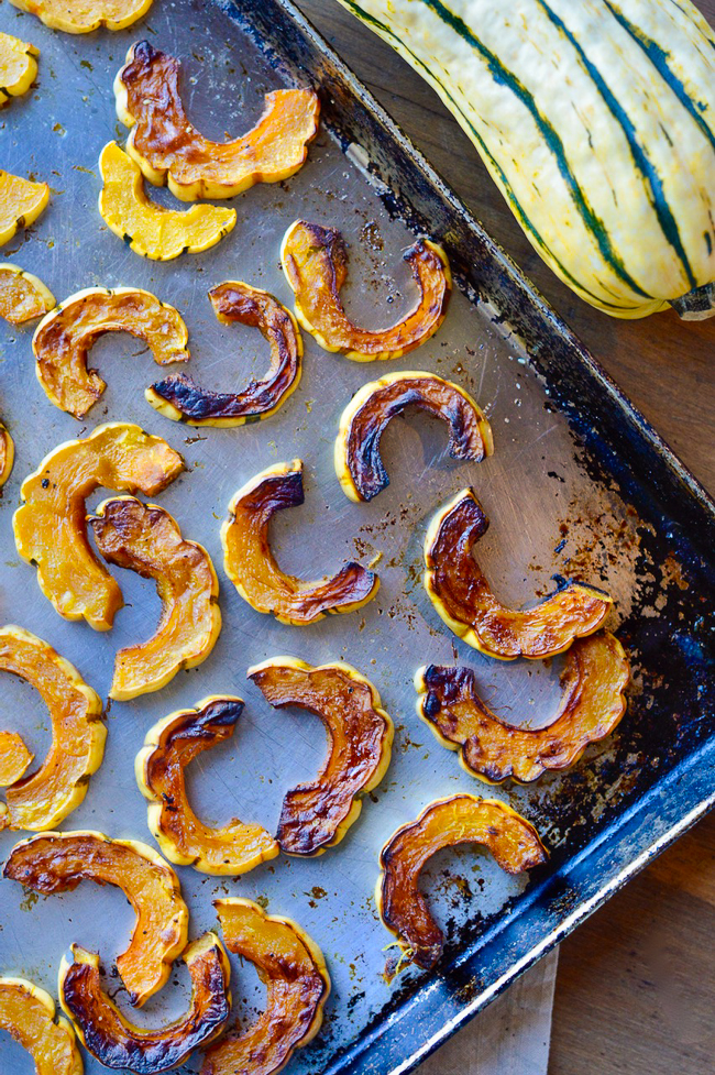 Crispy delicata squash on tray
