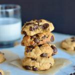 vegan chocolate chip cookies stacked