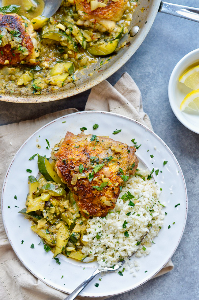 Moroccan Chicken with Saffron and Zucchini Over