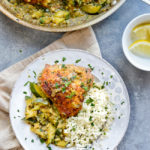 Moroccan Chicken with Saffron and Zucchini plate & pan
