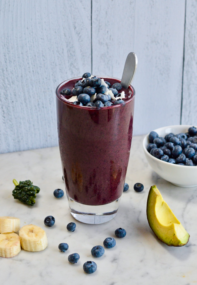 Balancing Creamy Blueberry Smoothie on counter
