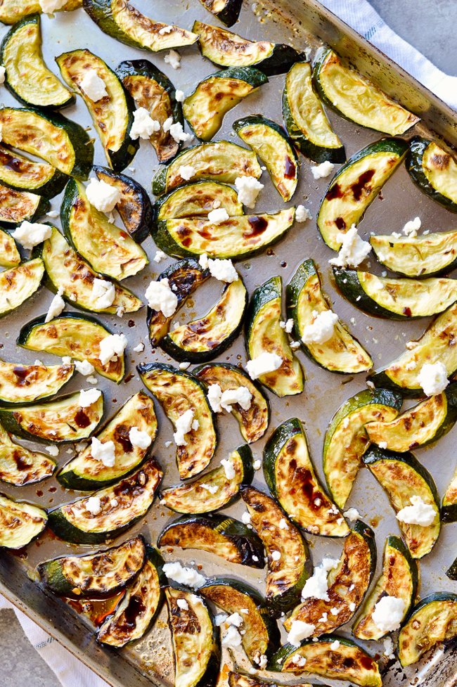 Easy Roasted Zucchini tray with goat cheese