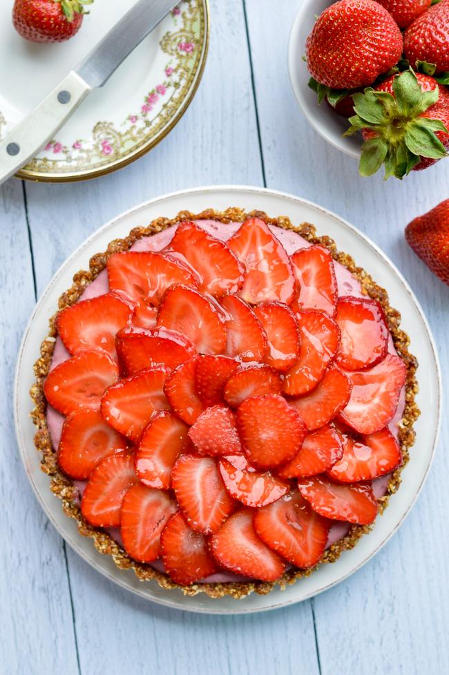 Vegan Strawberry Tart over